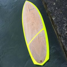 """WUUX """"Bullhead """" with crazy neon rails and a asymmetrical oak finish! Surfboard Fins, Surfboards, Surfing, Neon, Live, Surf, Neon Colors, Surfs Up, Skateboards"""