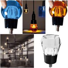 Alessandro Zambelli Seletti et lampe glaçon ampoule crystaled trnasparente bleu ou orange en forme de glaçcon ou diamand lampe ampoule idéal baladeuse ou suspension design