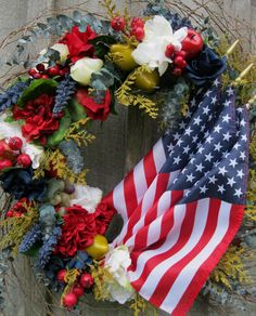 Classic Americana Heritage Wreath with American Flags by NewEnglandWreath