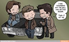The three musketeers ain't got nothin on the Winchesters plus Cas!!!!