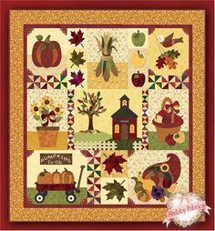 "Blessings of Autumn Pattern Set: Blessings of Autumn is the 3rd pattern in The Blessings SeriesTM by Shabby Fabrics. This cheerful 59"" x 63"" block applique quilt celebrates the richness of Autumn with pumpkins galore, sunflowers, a cornucopia, and so much more. The schoolhouse in the center block features a real bell in the belltower!   The patter..."