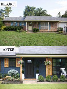 Ranch Exterior, House Paint Exterior, Exterior Remodel, Exterior House Colors, Exterior Paint Ideas, Exterior Design, Brick House Colors, Outside House Colors, Brick Ranch Houses