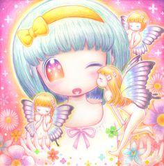✮ ANIME ART ✮ chibi. . .pastel. . .fairies. . .butterfly wings. . .bow headband. . .rainbow. . .flowers. . .sparkling. . .kiss. . .cute. . .kawaii