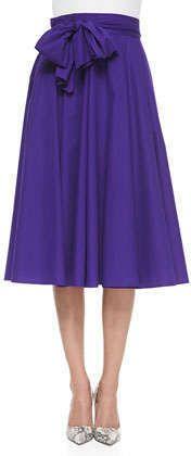 Bow-Detailed Midi Skirt