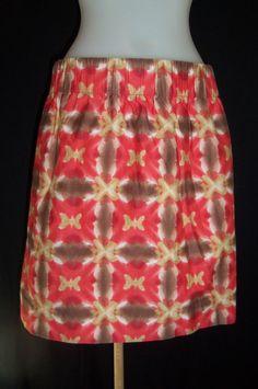 New J. CREW 4 Tie Dye Orange Brown Off White Short Wide Elastic Skirt POCKETS  #JCrew #Mini