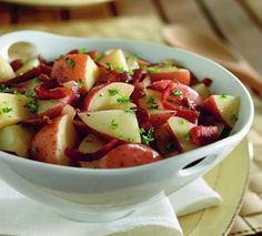German Potato Salad-This is a low calorie, low cholesterol, low carb, low sugar AND a Weight Watchers friendly 3 PointsPlus+ recipe. Makes 8 Servings.