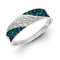 Diamond and Blue Diamond Ring