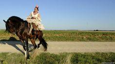 A pilgrim makes her way to the shrine of El Rocio in Sevilla