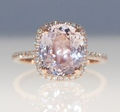3.2ct cushion mauve blush ice peach champagne sapphire 14k rose gold diamond ring engagement ring on Etsy, $3,431.94