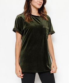 Look at this #zulilyfind! Olive Green Velvet Crew-Neck Top #zulilyfinds