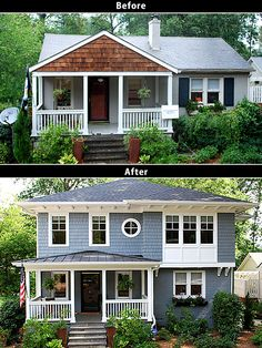 Second floor addition home renovation before and after collage.