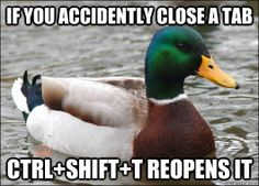 if you accidently close a tab ctrl+shift+t reopens it - Advice Mallard