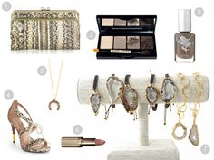 1. Anya Hindmarch Luce Snakeskin Clutch, 2. Bobbi Brown Basics Eye Palette, 3. Rachel Roy Nail Polish in Fairy Moss, 4. Pour la Victorie Shanna Snakeskin Lace-Front Sandal, 5. Cindy Schulze Diamond Horseshoe Necklace, 6. L'Oreal Colour Riche Lipstick in Fairest Nude, 7. Cindy Schulze Gold Geode Macrame and Charm Bracelets  CindySchulzeJewelry