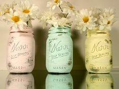 Home, Dorm or Office Decor, Pastel Painted Mason Jars with Silver Inside - Vase. $18.00, via Etsy.