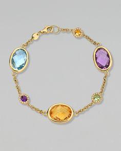 Eternal Gold Multi-Stone Bracelet by Kiki McDonough at Neiman Marcus. Gems Jewelry, Bridal Jewelry, Jewelry Accessories, Fine Jewelry, Jewelry Design, Bullet Jewelry, Gothic Jewelry, Jewelry Necklaces, Luxury Jewelry