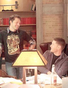 — jensen and misha. Misha Collins, Jensen Ackles Jared Padalecki, Jensen And Misha, Mark Sheppard, Sam Winchester, Zeppelin, Picture Watch, Dean And Castiel, Supernatural