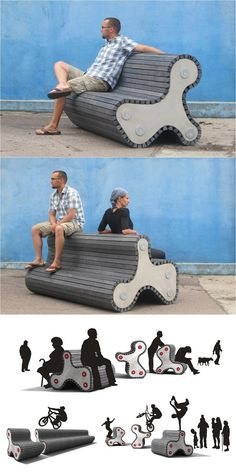 The Klimp bench by Margus Triibmann, made from recycled plastic, concrete, and metal. Visit the slowottawa.ca boards >> https://www.pinterest.com/slowottawa/