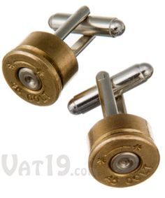 Colt .45 Cufflinks: Hand-made from used cartridges. for the hunter or gun enthusiasts.