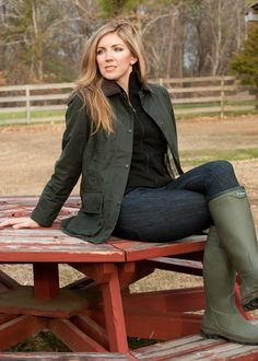 Barbour Ladies Beadnell Wax Cotton Jacket with Le Chameau Country Lady boot