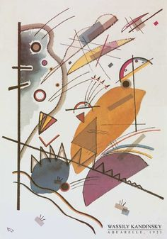 Wassily Kandinsky – Aquarelle, 1923  Art Experience NYC: www.artexperiencenyc.com Wassily Kandinsky, Abstract Words, Abstract Art, Poster Prints, Art Prints, Art Walk, Art Abstrait, Russian Art, Abstract Expressionism