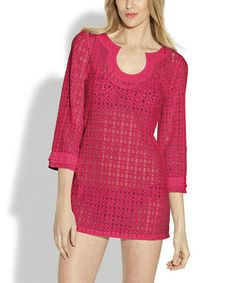 Neo Pink Lace Ruffle Scoop Neck Tunic