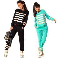 Stylish ladies striped sweatsuit #striped #sweatsuit