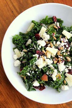 Massaged Kale Salad: red onion, cranberries, apple, sunflower seeds