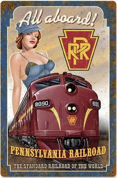 Items similar to Pennsylvania Railroad Pinup Girl Sign, Metal Sign, 2 Sizes, USA Made Vintage Style Retro Garage Art RG on Etsy Train Posters, Railway Posters, Vintage Advertisements, Vintage Ads, Vintage Style, Orient Express Train, Pennsylvania Railroad, Train Art, Garage Art