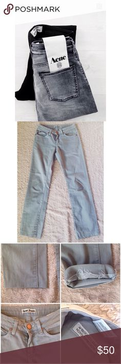 Acne Jeans in Hep Concrete These jeans have been cut and hemmed (pictured) but are still in great condition! White leather acne tag on the back, size 25/32 Acne Jeans Straight Leg
