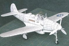 WWII Bell P-39D-1 Airacobra Fighter Free Aircraft Paper Model Download