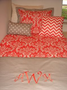 Love the coral color!! My Room, Dorm Room, Dream Rooms, Dream Bedroom, Dorm Life, College Life, Bed Pillows, Bed Linens, Future House