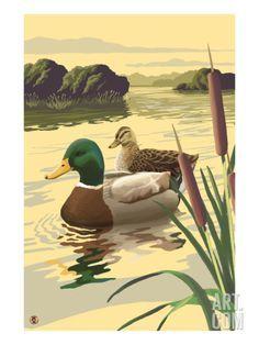 Lake Koshkonong, Wisconsin - Mallard Ducks - Lantern Press Artwork (Art Print Available) Portage Lakes, Bass Lake, Duck Art, Mallard, Bird Art, Art Prints, Canvas Prints, Canvas Wall Art, Wildlife