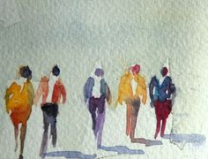 Tiny walking people watercolor