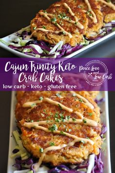 These Cajun Trinity Keto Crab Cakes are a low carb nod to one of my favorite cities in the world - New Orleans! Loaded with lump crab meat, and perfectly juicy! Low Carb Keto, Low Carb Recipes, Cooking Recipes, Banting Recipes, Vegetarian Cooking, Low Carb Crab Cakes, Seafood Recipes, Dinner Recipes, Aperitivos Keto