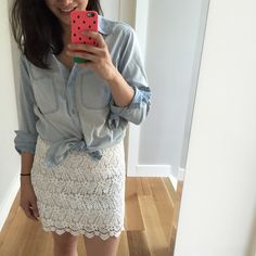 Spotted while shopping on Poshmark: Zara white lace mini skirt! #poshmark #fashion #shopping #style #Zara #Dresses & Skirts