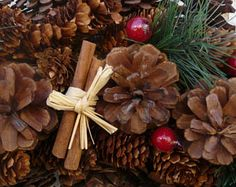 Cinnamon and Pine Cone Christmas Holiday Wreath