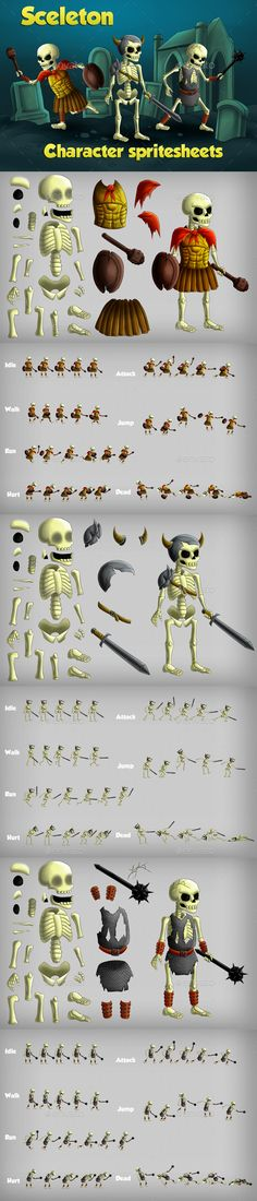 2D Game Skeleton Character Spritesheet — Photoshop PSD #fantasy hero #character • Available here → https://graphicriver.net/item/2d-game-skeleton-character-spritesheet/19511373?ref=pxcr