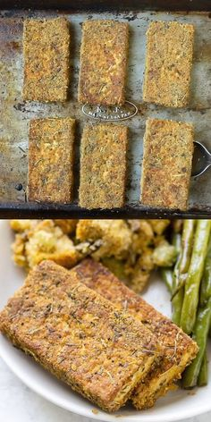 Rezepte Tofu This Vegan Herb Crusted Tofu makes a delicious vegetarian entree or side dish for a crowd at Thanksgiving! This easy homemade recipe is made with quinoa flour, nutritional yeast, garlic and healthy seasonings and spices! Vegetarian Entrees, Vegan Dinner Recipes, Whole Food Recipes, Cooking Recipes, Healthy Recipes, Recipes With Tofu Healthy, Healthy Nutrition, Quinoa Flour Recipes, Firm Tofu Recipes