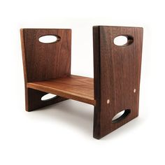Modern Kids Step Stool, Walnut Double Sided Wooden Stool With Carrying Handles