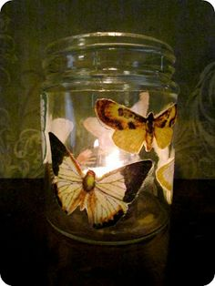 Butterfly candle craft.  Can see having kids make these for mother's day crafts using recycled glass mason or baby food jars.  Then have a neat scented tea light inside or if you were worried about fire hazard, then battery operated tea light.