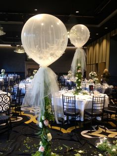 Doltone House - wedding including custom tulle, giant balloons and floral ivy base