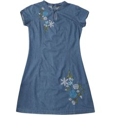 Floral Embroidered Mini Denim Dress Denim Blue ($21) ❤ liked on Polyvore featuring dresses
