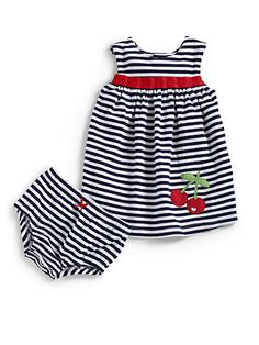 For Baby Girl: Adorable Black & White Striped Dress and Bloomers Set