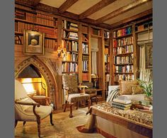Library with gothic arch fireplace. Love, love, love this cozy library!