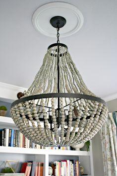 Large wood bead chandelier world market 295 shipping 24in diam a new beaded chandelier aloadofball Gallery