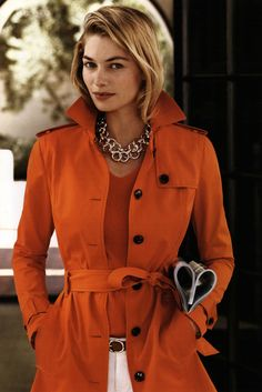 An Orange Trench in Amazonian style from Banana Republic Ad Campaign Spring/Summer 2013