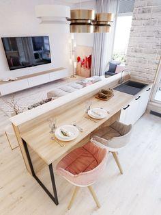 Amazing Small Apartment Interior Design Ideas Home Ideas Apartment Decorating On A Budget, Small Apartment Design, Small Room Design, Small Apartment Kitchen, Kitchen Small, Apartment Living, Kitchen Ideas, Open Kitchen And Living Room, White Apartment