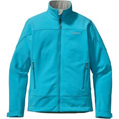 Fight against wind and cold in this shiny blue softshell jacket