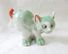 Lusterware ceramic goofy cat figurine green orange made in Japan Art Deco vintage cm1482