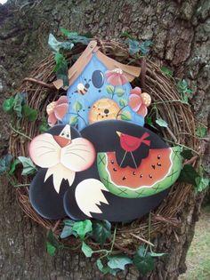 Good Old Handpainted  Summertime  Wreath by stephskeepsakes, $39.99